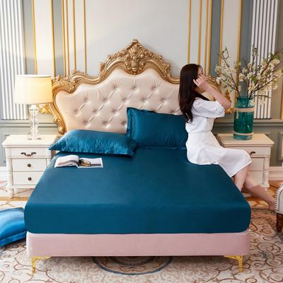2020新款-好面料冰丝真丝单床笠 150cmx200cm 巴黎蓝