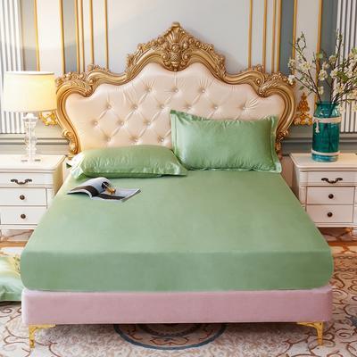 2020新款-好面料冰丝真丝单床笠 150cmx200cm 琥珀绿