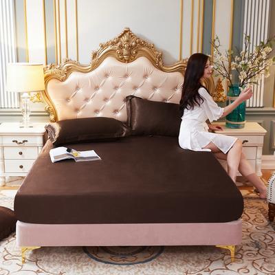 2020新款-好面料冰丝真丝单床笠 150cmx200cm 咖啡色