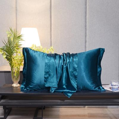 2020新款-升级好面料水洗冰丝真丝单枕套 长枕套 48cmX120cm/只 巴黎蓝