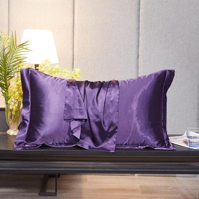 2020新款-升级好面料水洗冰丝真丝单枕套 长枕套 48cmX74cm/对 典雅紫