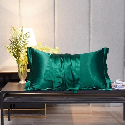 2020新款-升级好面料水洗冰丝真丝单枕套 长枕套 48cmX74cm/对 翡翠绿