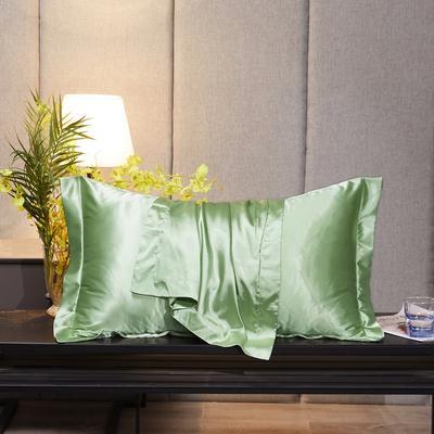 2020新款-升级好面料水洗冰丝真丝单枕套 长枕套 48cmX74cm/对 琥珀绿