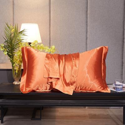 2020新款-升级好面料水洗冰丝真丝单枕套 长枕套 48cmX74cm/对 橘色