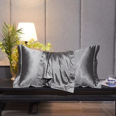 2020新款-升级好面料水洗冰丝真丝单枕套 长枕套 48cmX74cm/对 爵士灰