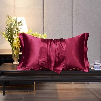 2020新款-升级好面料水洗冰丝真丝单枕套 长枕套 48cmX74cm/对 玛瑙红