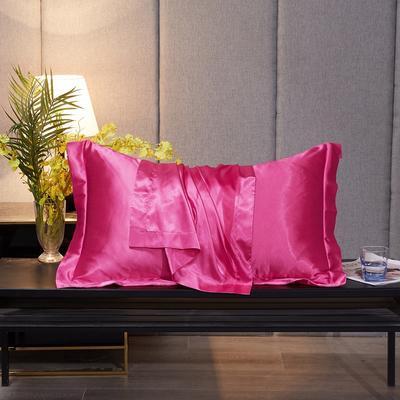 2020新款-升级好面料水洗冰丝真丝单枕套 长枕套 48cmX74cm/对 玫瑰红