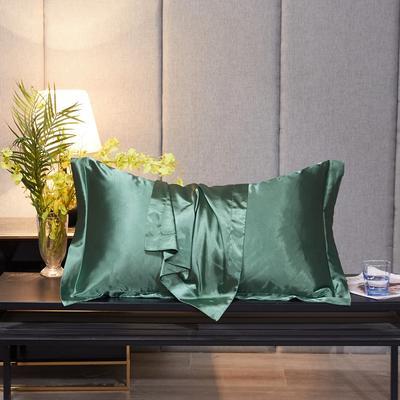 2020新款-升级好面料水洗冰丝真丝单枕套 长枕套 48cmX74cm/对 抹茶绿