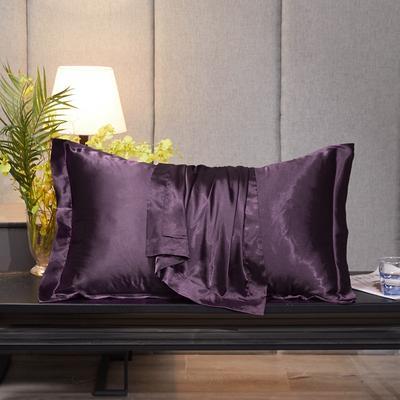 2020新款-升级好面料水洗冰丝真丝单枕套 长枕套 48cmX74cm/对 水晶紫
