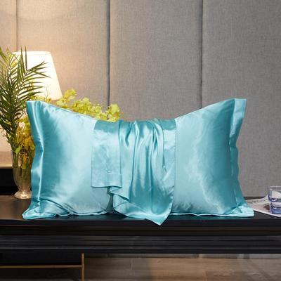 2020新款-升级好面料水洗冰丝真丝单枕套 长枕套 48cmX74cm/对 天之蓝
