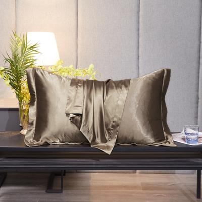 2020新款-升级好面料水洗冰丝真丝单枕套 长枕套 48cmX74cm/对 香槟金