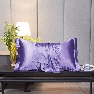 2020新款-升级好面料水洗冰丝真丝单枕套 长枕套 48cmX74cm/对 雪青色