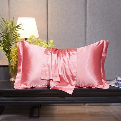 2020新款-升级好面料水洗冰丝真丝单枕套 长枕套 48cmX74cm/对 胭脂玉