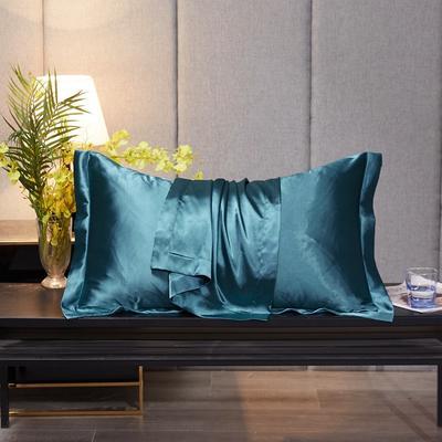 2020新款-升级好面料水洗冰丝真丝单枕套 长枕套 48cmX74cm/对 月光蓝
