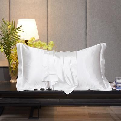 2020新款-升级好面料水洗冰丝真丝单枕套 长枕套 48cmX74cm/对 珍珠白