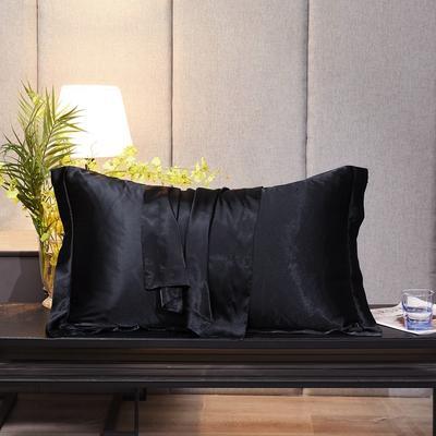 2020新款-升级好面料水洗冰丝真丝单枕套 长枕套 48cmX74cm/对 至尊黑