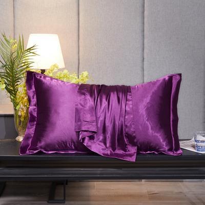 2020新款-升级好面料水洗冰丝真丝单枕套 长枕套 48cmX74cm/对 紫罗兰