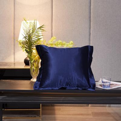 2020新款-升级好面料水洗冰丝真丝单方垫套抱枕套 45X45cm 藏青色