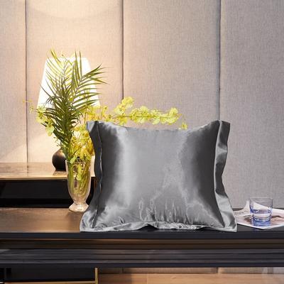 2020新款-升级好面料水洗冰丝真丝单方垫套抱枕套 45X45cm 爵士灰