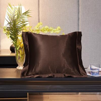 2020新款-升级好面料水洗冰丝真丝单方垫套抱枕套 45X45cm 咖啡色