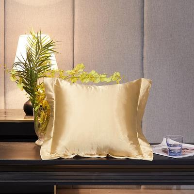2020新款-升级好面料水洗冰丝真丝单方垫套抱枕套 45X45cm 卡其色