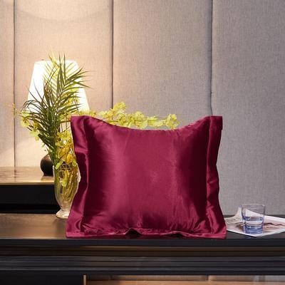 2020新款-升级好面料水洗冰丝真丝单方垫套抱枕套 45X45cm 玛瑙红