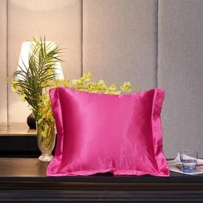2020新款-升级好面料水洗冰丝真丝单方垫套抱枕套 45X45cm 玫瑰红