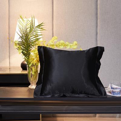 2020新款-升级好面料水洗冰丝真丝单方垫套抱枕套 45X45cm 至尊黑