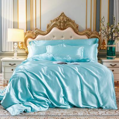 2020新款-好面料冰丝真丝四件套 床单款三件套1.2m(4英尺)床 天之蓝