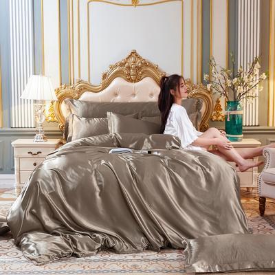 2020新款-好面料冰丝真丝四件套 床单款三件套1.2m(4英尺)床 香槟金
