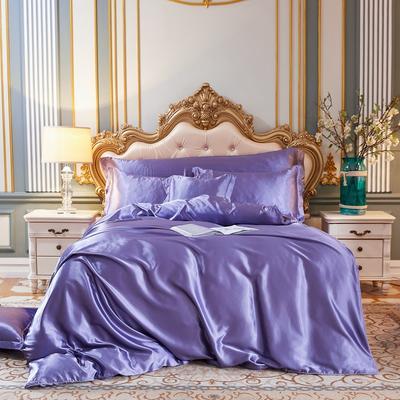 2020新款-好面料冰丝真丝四件套 床单款三件套1.2m(4英尺)床 雪青色