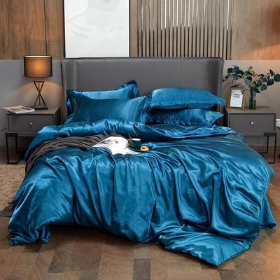 2020夏季新款-水洗冰丝真丝可供跨境亚马逊等冰丝四件套床笠款 床笠款四件套1.2m(4英尺)床 巴黎蓝
