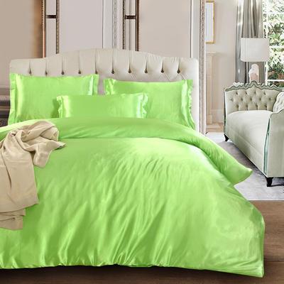 2020新款升级好面料水洗冰丝真丝四件套 床单款四件套1.2m(4英尺)床 果绿