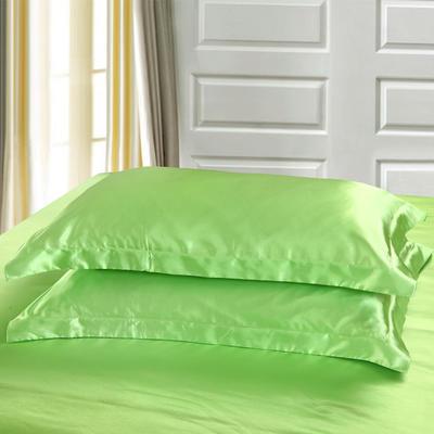 2020新款-升级好面料水洗冰丝真丝单枕套 长枕套 48cmX120cm/只 果绿