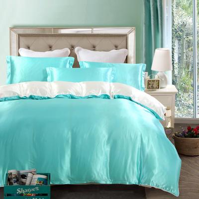 2020新款升级好面料水洗冰丝真丝四件套 床单款四件套1.2m(4英尺)床 水蓝白