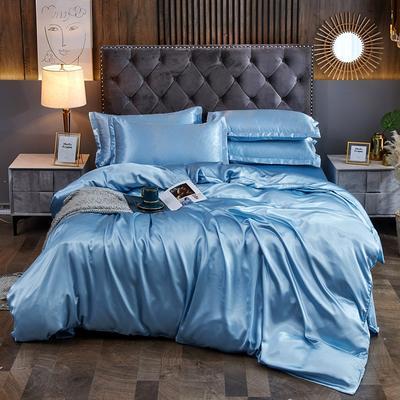 2020夏季新款-水洗冰丝真丝可供跨境亚马逊等冰丝四件套床笠款 床笠款三件套1.2m(4英尺)床 浅蓝色