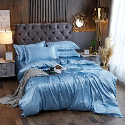 2020夏季新款-水洗冰丝真丝单床单 可供跨境亚马逊等 230cm*250cm 浅蓝色