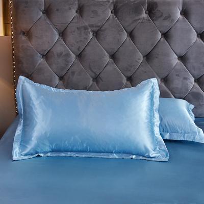 2020夏季新款-水洗冰丝真丝单枕套 可供跨境亚马逊等 48cmX74cm/对 浅蓝色