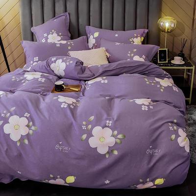 2020新款全棉活性生态磨毛四件套 1.2m(床单款三件套) 花季紫