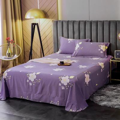 2020新款全棉活性生态磨毛纯棉单床单 180x240cm 花季紫