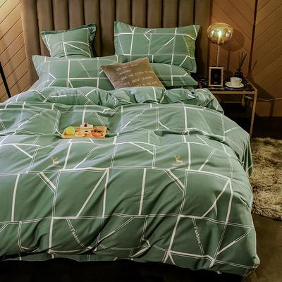 2020新款全棉活性生态磨毛四件套 1.2m(床单款三件套) 回忆时光-绿