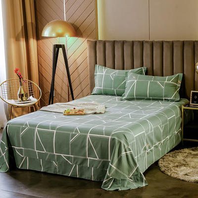 2020新款全棉活性生态磨毛纯棉单床单 180x240cm 回忆时光-绿