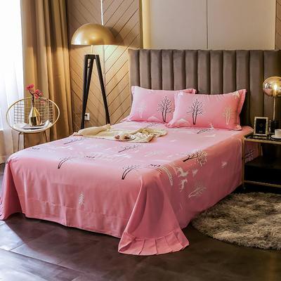 2020新款全棉活性生态磨毛纯棉单床单 180x240cm 怦然心动-粉