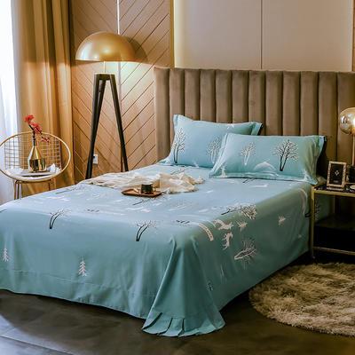 2020新款全棉活性生态磨毛纯棉单床单 180x240cm 怦然心动-绿