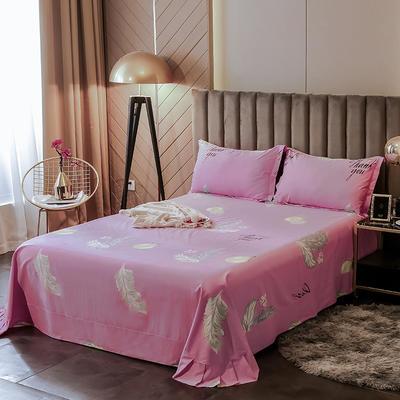 2020新款全棉活性生态磨毛纯棉单床单 245x250cm 清晨美-粉
