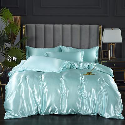 2021爆款热卖冰丝真丝四件套-常年有货 1.2m床单款四件套 水蓝色
