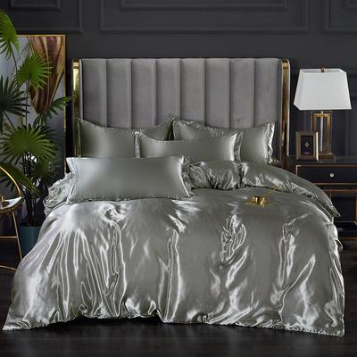 2021热款冰丝真丝四件套 1.2m床单款四件套 银灰色