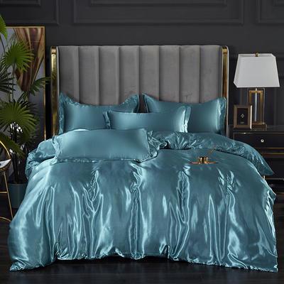 2021热款冰丝真丝四件套 1.2m床单款四件套 月光蓝