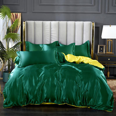 2021热款冰丝真丝四件套 1.2m床单款四件套 翠绿拼贵族黄