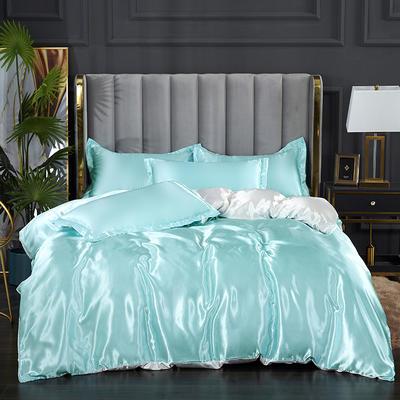 2021热款冰丝真丝四件套 1.2m床单款四件套 水蓝白